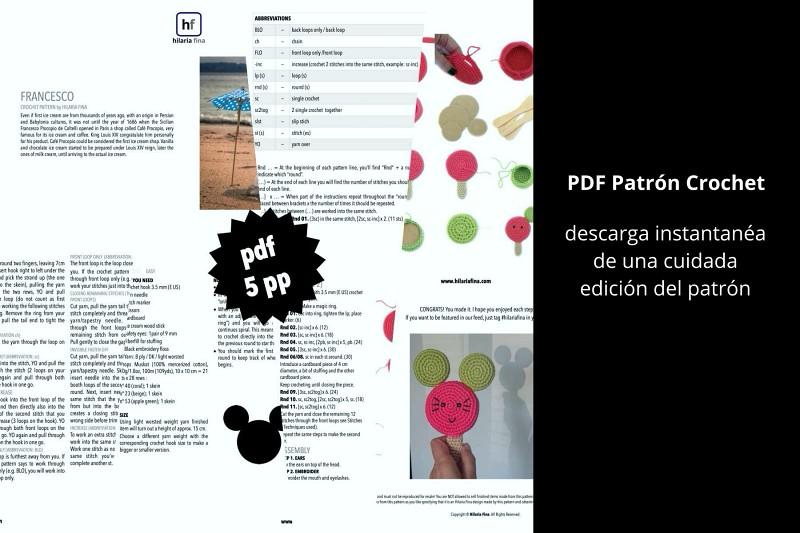 Patrón PDF Amigurumi Helado
