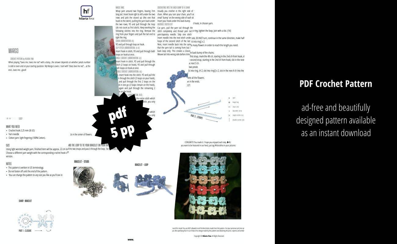 Margo Bracelet Crochet pattern PDF